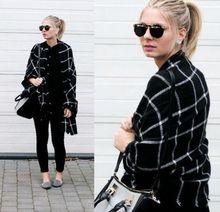 New Lady Women Blanket black white Plaid Cozy Checked Tartan Scarf Wraps shawl