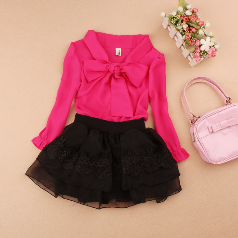 Girls Clothing Sets 2016 Autumn Kids Clothes Children Set School Girl Blouse+Tutu Skirt 2-piece Suit 4 Colors Age 1-16Y - A M store