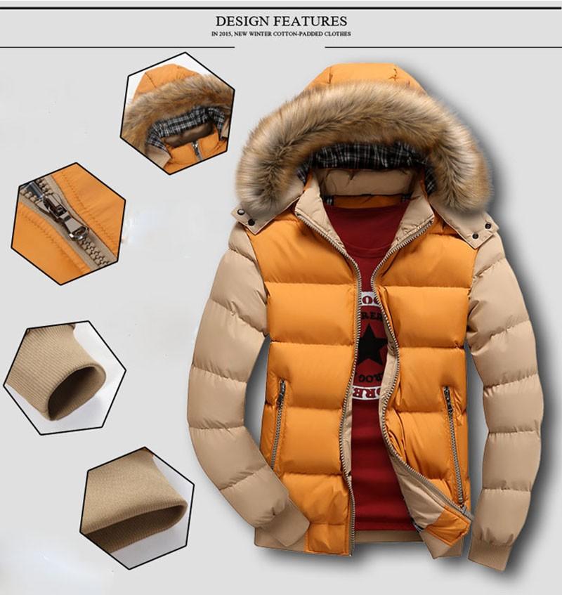Winter jacket men thicken mens parka jackets fur hooded fashion warm casual cotton outdoor outerwear men\`s winter down jacket (2)