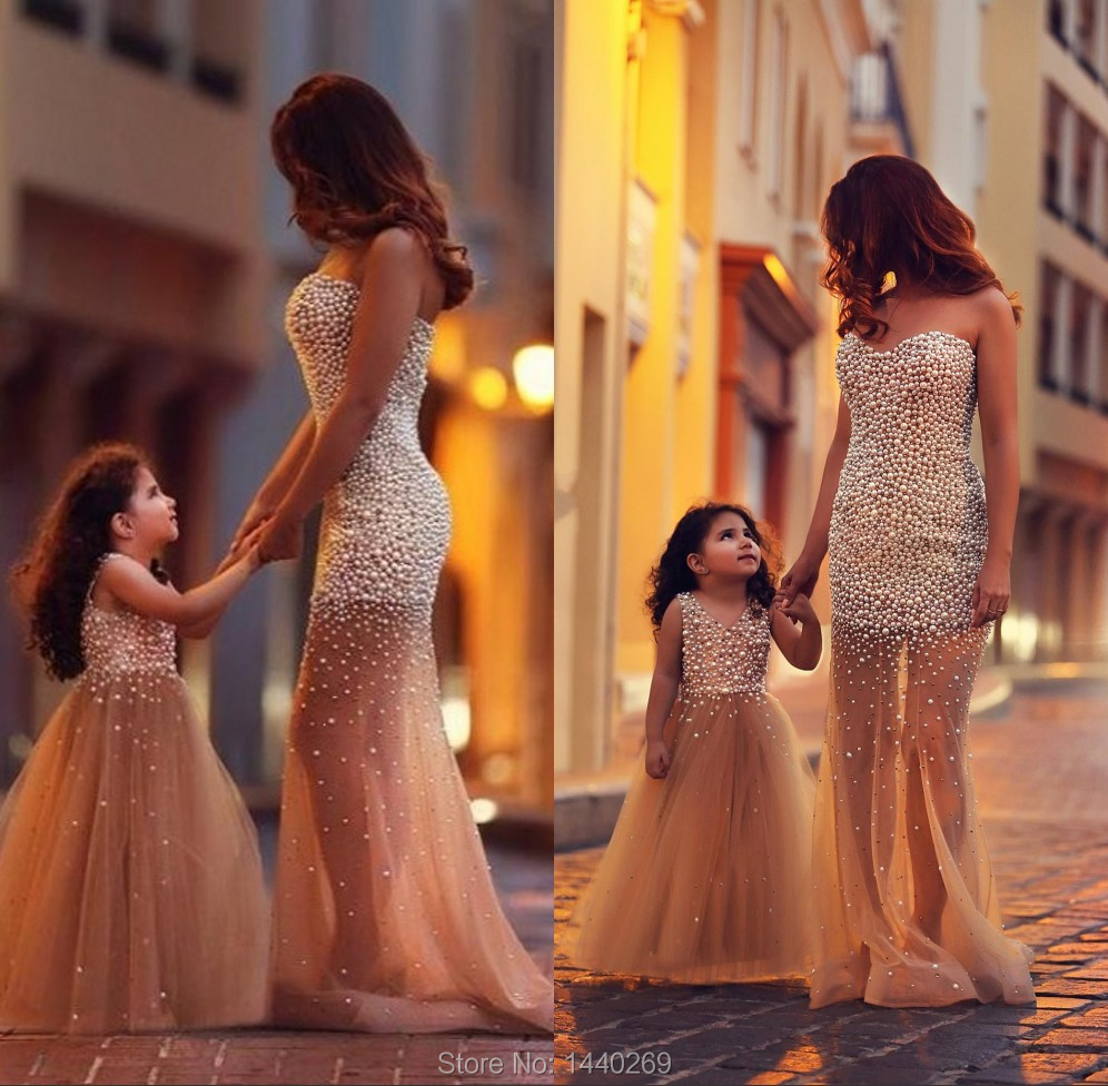 Beautiful Full Pearls Tulle Champagne Mermaid New Arrival Children Flower Girl Dresses See Through Leg For Weddings 2015(China (Mainland))