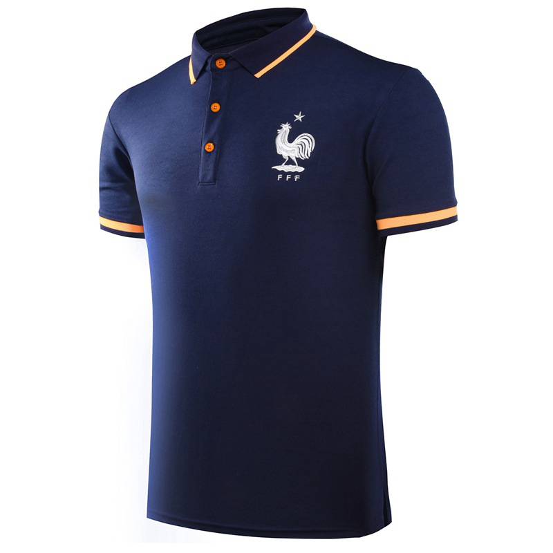 European Cup France Football Soccer POLO Shirt Trainning Exercise Men's Solid Polo Homme Short Sleeve Sport Leisure Polo(China (Mainland))
