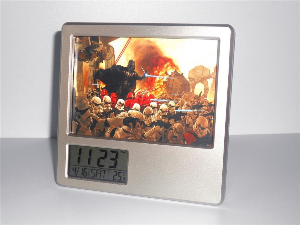 Star Wars Creative Digital Alarm Clock Multi-function Desk Clock Calendar Pen Holder Photo Frame Alarm Clock(China (Mainland))