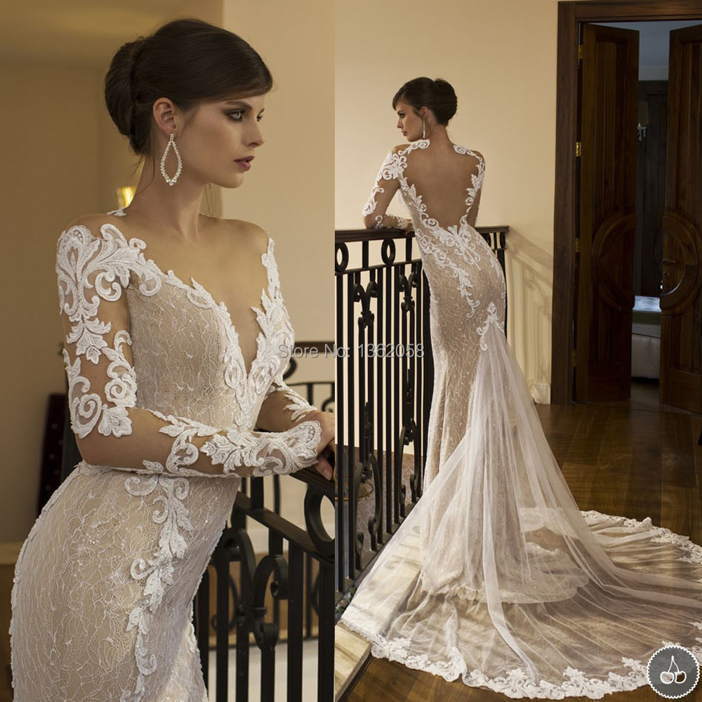 Wedding Dress Long Sleeve Backless : Neck mermaid lace wedding dress long sleeve heart backless bridal gown
