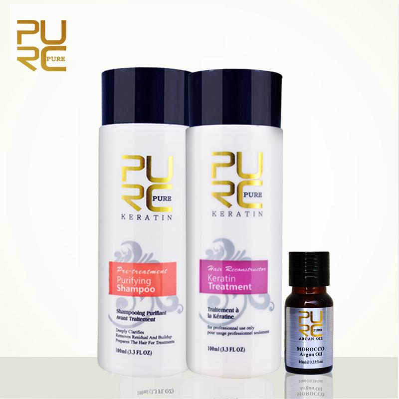 PURC keratin hair straightening brazilian chocolate 5% formaldehyde keratin hair treatment 100ml set free gift 10ml argan oil(China (Mainland))