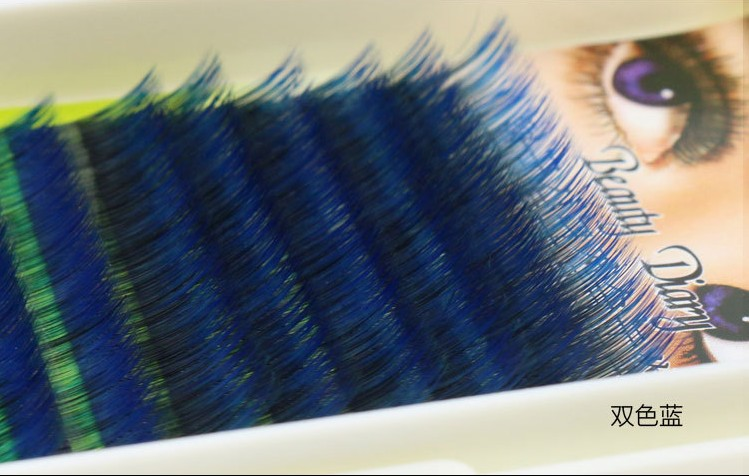 16 Rows Gradient Color Eyelash Ombre C Curl Blue Mixed Length Individual Silk Eyelash Extensions One Tray(China (Mainland))