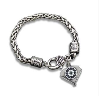 1pcs Europe unsex couple Jewelry gift NFLAncient silver Seattle Mariners team logo sports alloy drip crude Men's Retro Bracelet(China (Mainland))