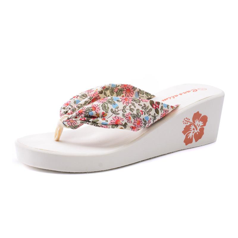 Fashion bohemia ribbon women's flip flops with wedges ladies sweet floral high heel sandals beach platform slippers(China (Mainland))