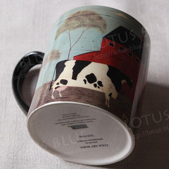 Cow lang coffee mug tea cup large capacity thick gift free shopping(China (Mainland))