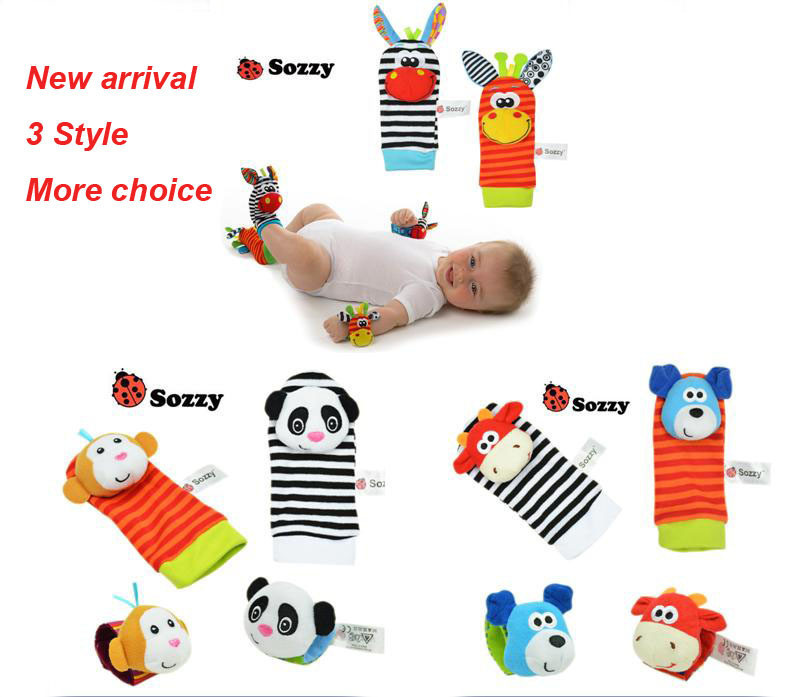 2pcs Soft Baby Toy Wrist Strap Socks Cute Cartoon Garden Bug Plush Rattle with Ring Bell(China (Mainland))