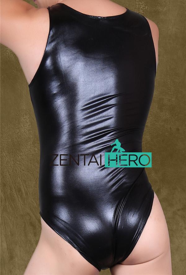 ZentaiHero NEW Sexy Men\`s Costume Shiny Metallic Leotard Bodysuit Silver Black Silm Zentai Party Costume NN49 Plus Size (3)