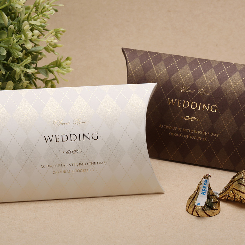 Wholesale 120 PCS Brown & White Favor Boxes for Wedding Candy Gift ...