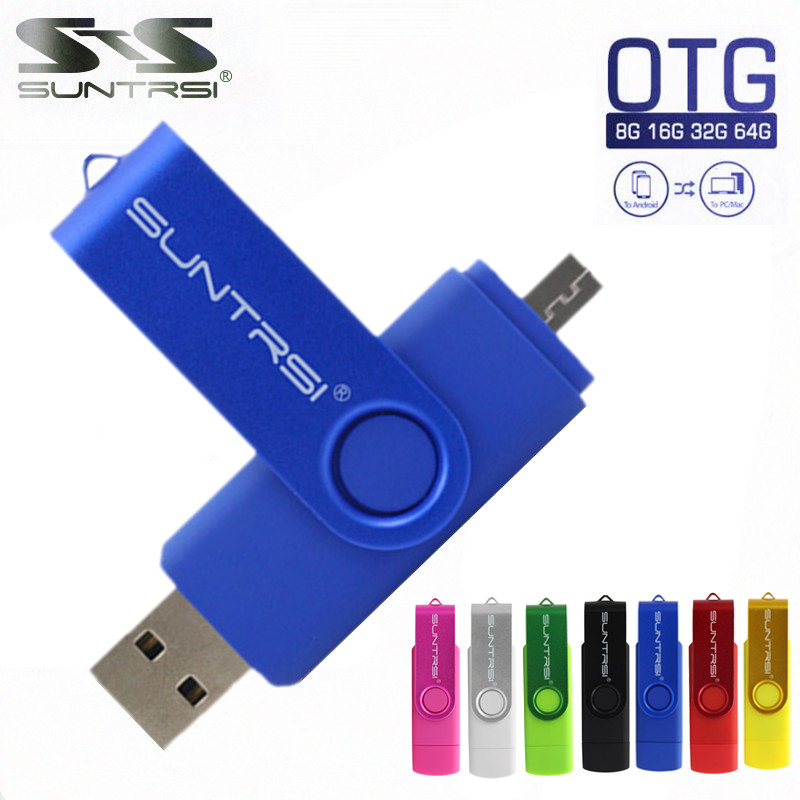 Suntrsi Smart Phone USB Flash Drive Metal Pen Drive 64gb pendrive 8gb OTG external storage micro usb memory stick Flash Drive(China (Mainland))