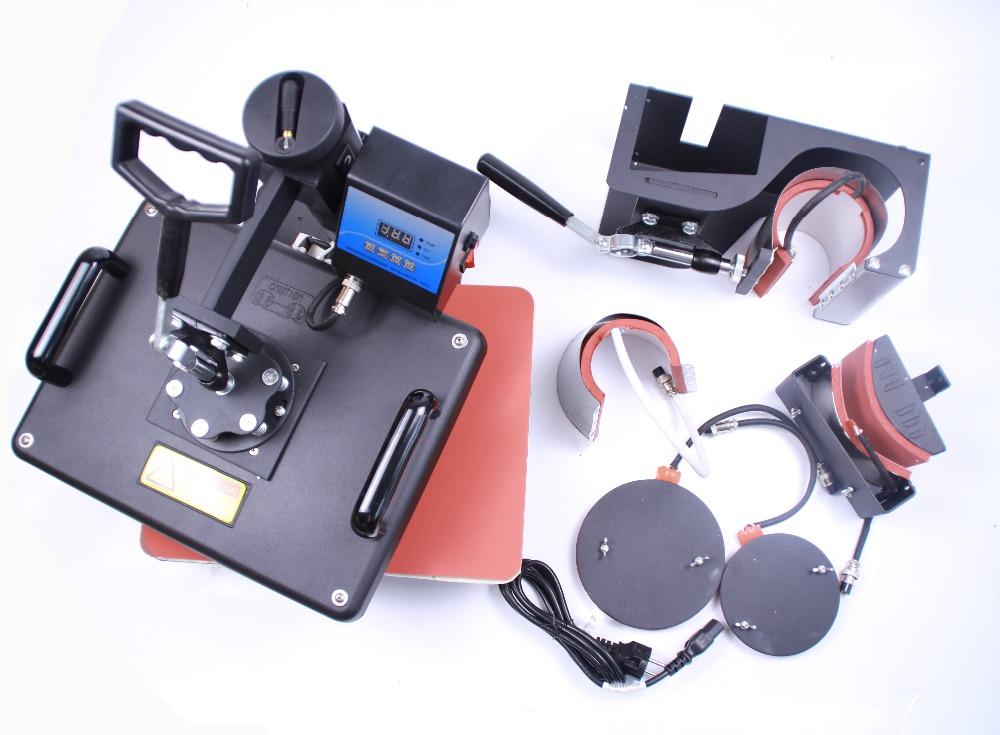 Free shipping 6 in 1 combo mug photo printing machine Digital Manual Combo Heat Press Machines hat plate mug sublimation machine(China (Mainland))