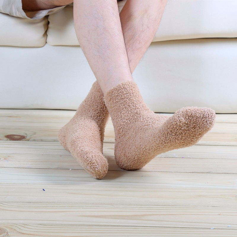 Hot Warm Men Middle Socks Winter Solid Color No Show Socks High Quality Super Soft Coral Fleece Sleeping Sock 2016 Man Clothing (3)