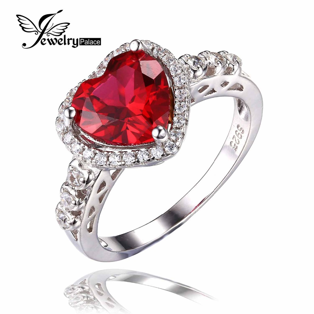 3ct Pigeon Blood Red Gem Ruby Ring Heart For Women Wedding Romantic 18k Gold Plated Pure Solid 925 Sterling Silver Jewelry(China (Mainland))