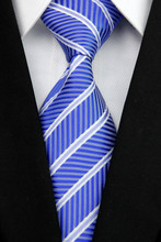 ST009 Fashion Jacquard Woven Smooth Tie Gravata Royal White Stripes New Neckties For Man Casual Business