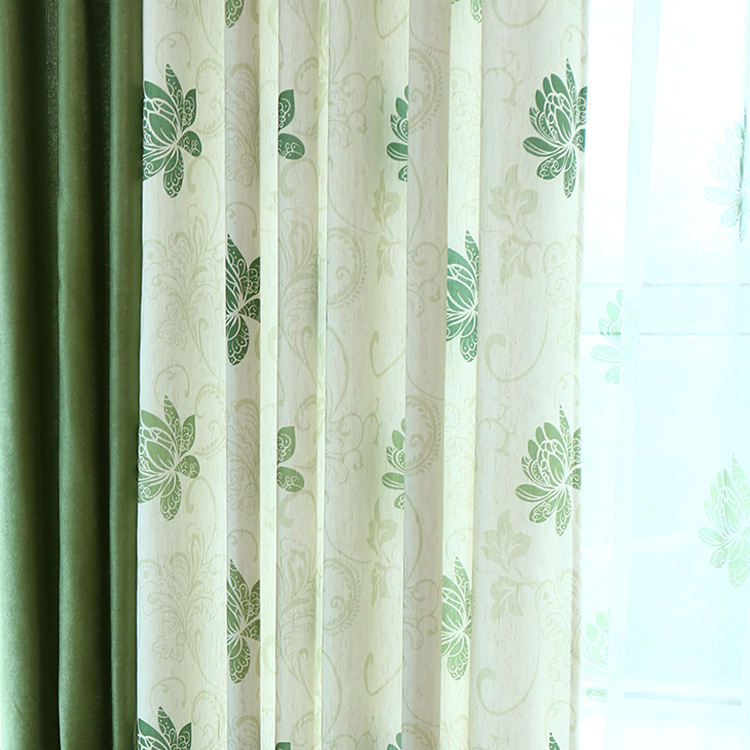The Sitting Room The Bedroom The Finished Curtain Custom Fresh Rural Korean Ikea Cotton and Flax Wave Green Window(China (Mainland))