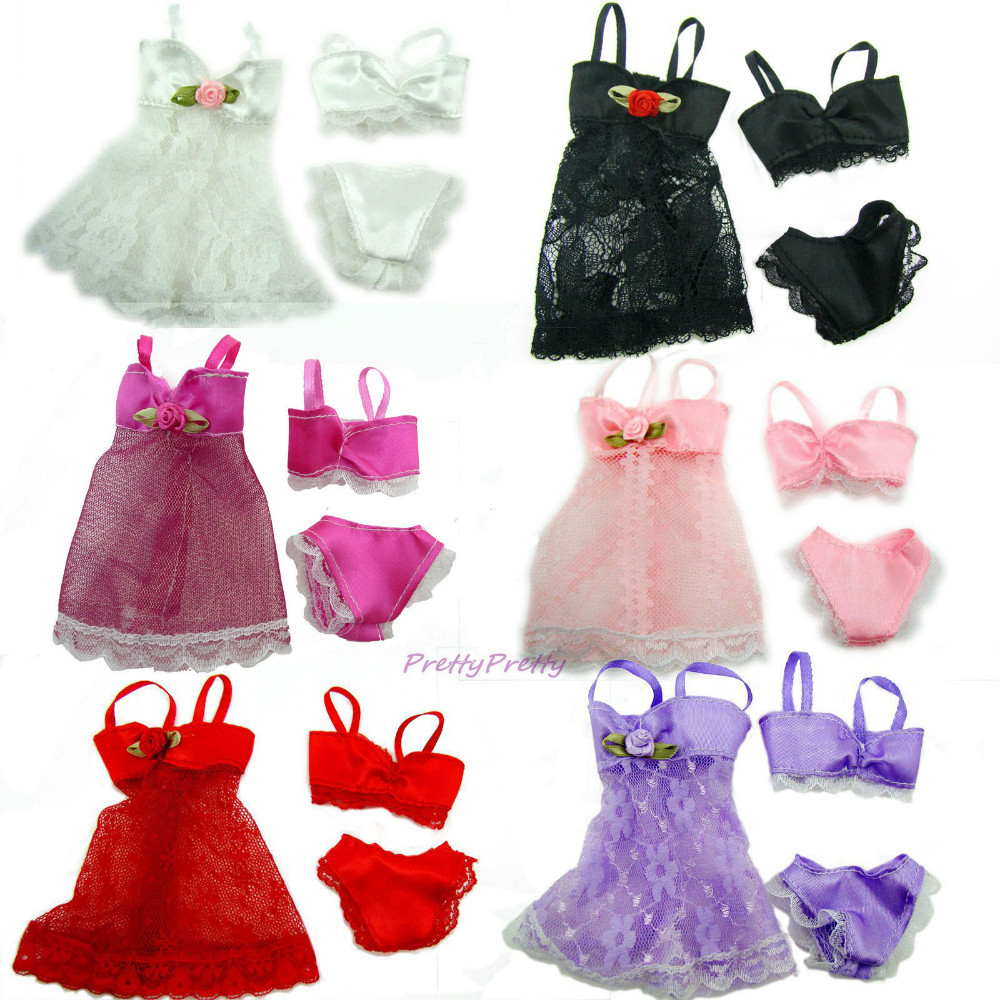 Lot 18Pcs = 6 Units Colourful Attractive Pajamas Lingerie Nightwear Lace Evening Gown + Bra + Underwear Garments For Barbie Doll