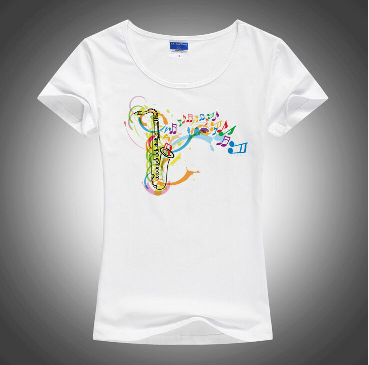 100% Perfect New arrival saxophone printing T shirt women popular colorful music shirt Brand good quality comfortable cotton top(China (Mainland))