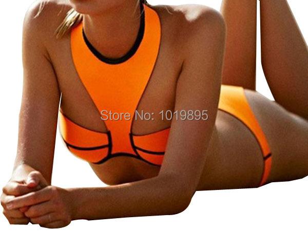 Naranja neopreno Bikini Halter Top mujeres del traje de baño traje de baño del vendaje 2015 tapas atractivas empuja hacia arriba traje de baño para mujer Beach Wear 6 Color(China (Mainland))