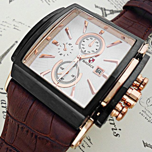 Качество Badace роскошный топ марка кварцевые часы мужские отображения даты площади набора кожаный ремешок наручные часы Relogio Masculino