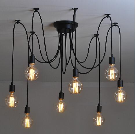 Antique Retro DIY E27 Art Black Spider Chandelier Vintage Loft Adjustable Edison Bulb pendant lamp Haning Fixture Lighting(China (Mainland))