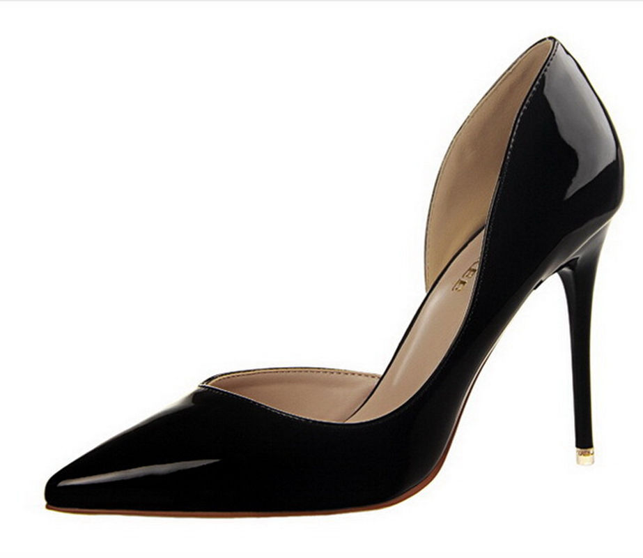 Women Pumps Woman High Heel Shoes Pointed Toe Sexy High Heels Thin Heel Patent PU Leather Shoes