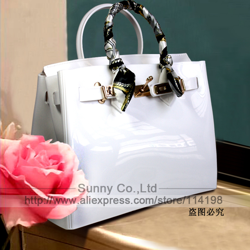 High quality PVC jelly candy color rubber handbag waterproof silicone white beach bag women messenger tote lock scarf purse(China (Mainland))