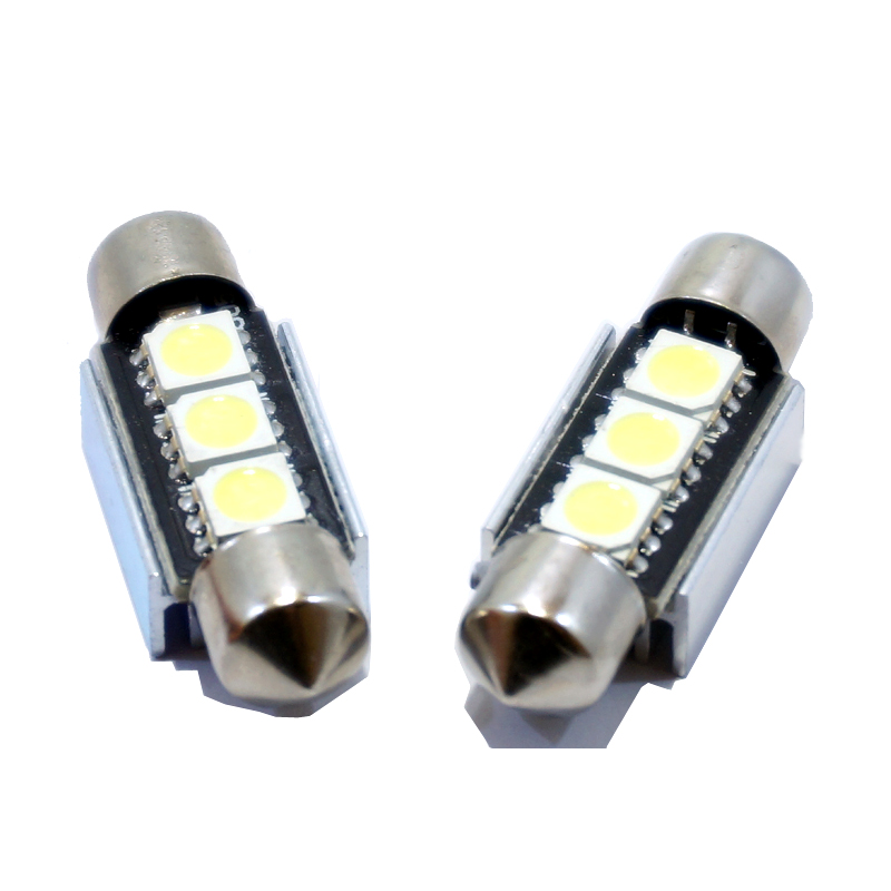 10pcs 36mm 39mm 3 SMD 5050 Pure White Dome Festoon CANBUS No Error Car 3 LED Light c5w led Lamp auto Bulb 12V led interior light(China (Mainland))