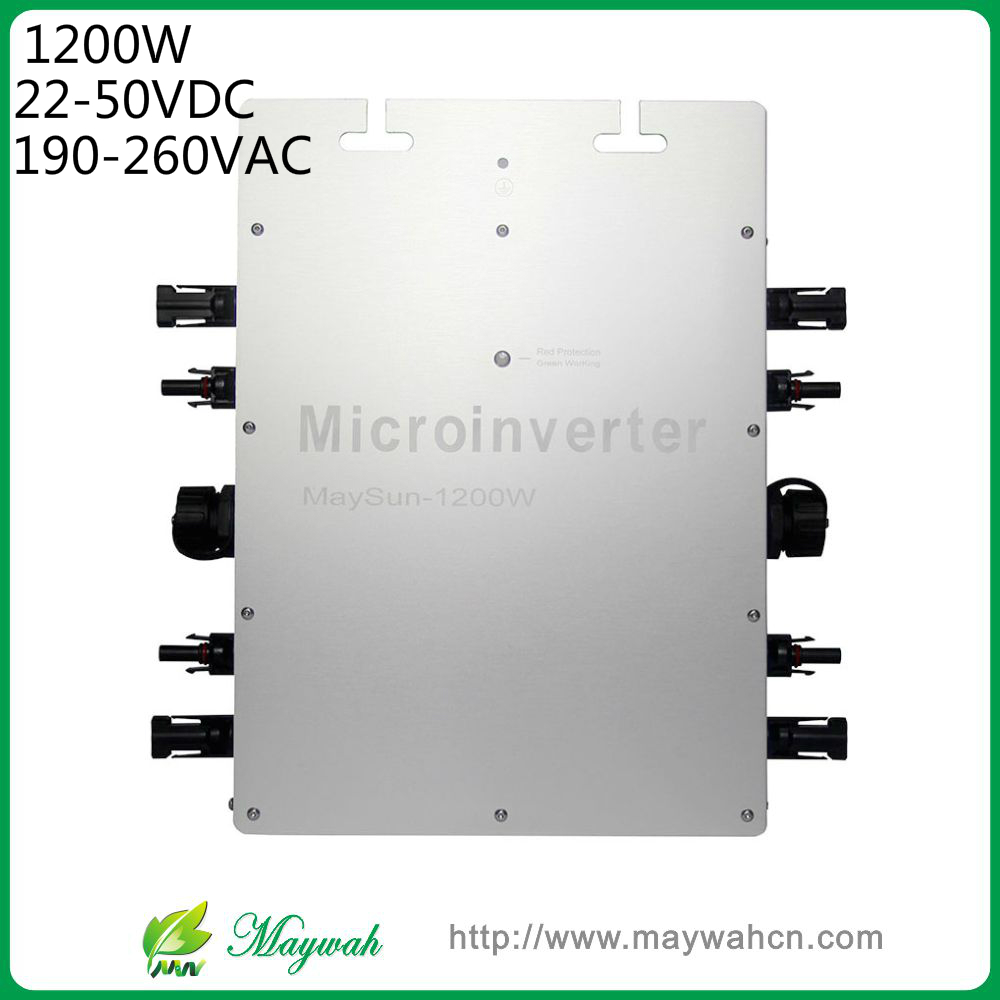 DECEN@MaySun 1200W IP65 Waterproof MPPT Solar Power Micro Inverter, 22-50VDC, 180-260VAC Micro Grid Tie Inverter(China (Mainland))