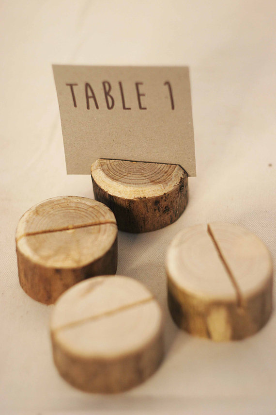 20pcs Handmade Wood Place Card Holder Forest Table