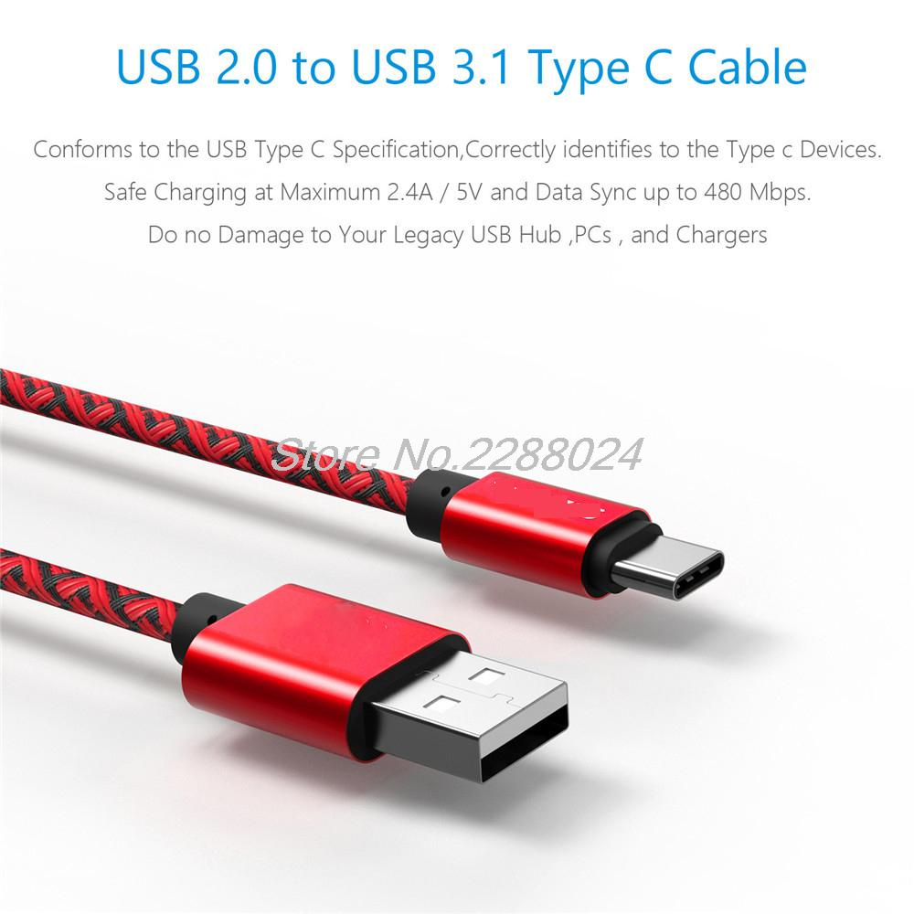 nylon USB 3.1 Type C USB-C cable Data Sync & type-c Charge Cable for Nexus 5 6p for Macbook OnePlus 2 ZUK Z1 xiaomi 4c 4i