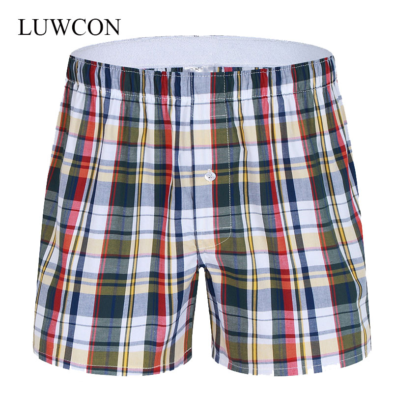 LUWCON Brand Loose Plaid Cotton Men's Underwear Boxer Shorts High Quality Mens Leisure Lounge Home Wear Underpants(China (Mainland))