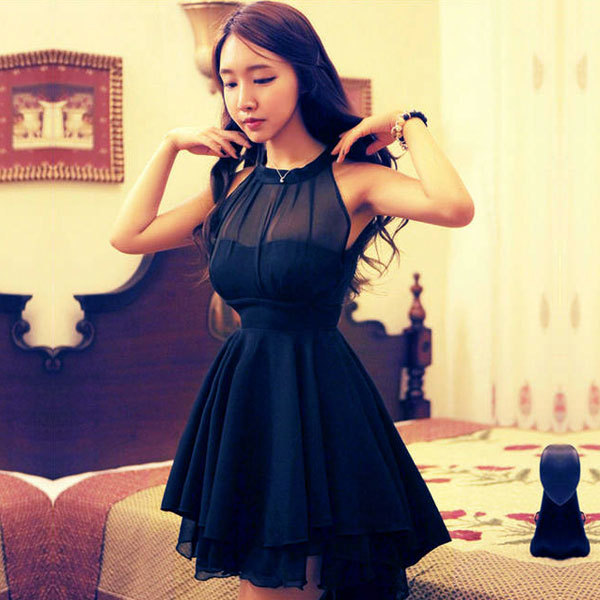New 2015 Summer Clothing Women Ladies Backless Empire Party Dress Sexy Club Cocktail Ball Gown Skater Novelty Mini Black 0250(China (Mainland))