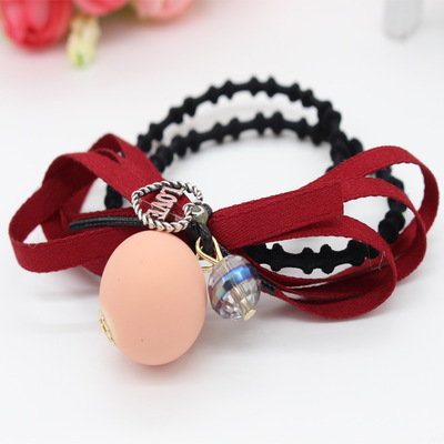Korean version of high-end hair accessories hair ring Tousheng jewelry pearl bow elastic rubber band hair weave double buckle(China (Mainland))
