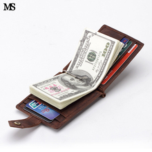 Buy MS New Crazy Horse Leather Fashion Men Money Clip Slim Bifold Wallet Vintage ID Credit Card Bag Money Coin Wallet Coffee K137 for $16.40 in AliExpress store