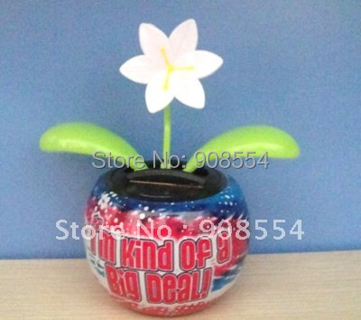 solar powered flip flap pot with swaying flower 30pcs per lot Free shipping via China post air parcel(China (Mainland))