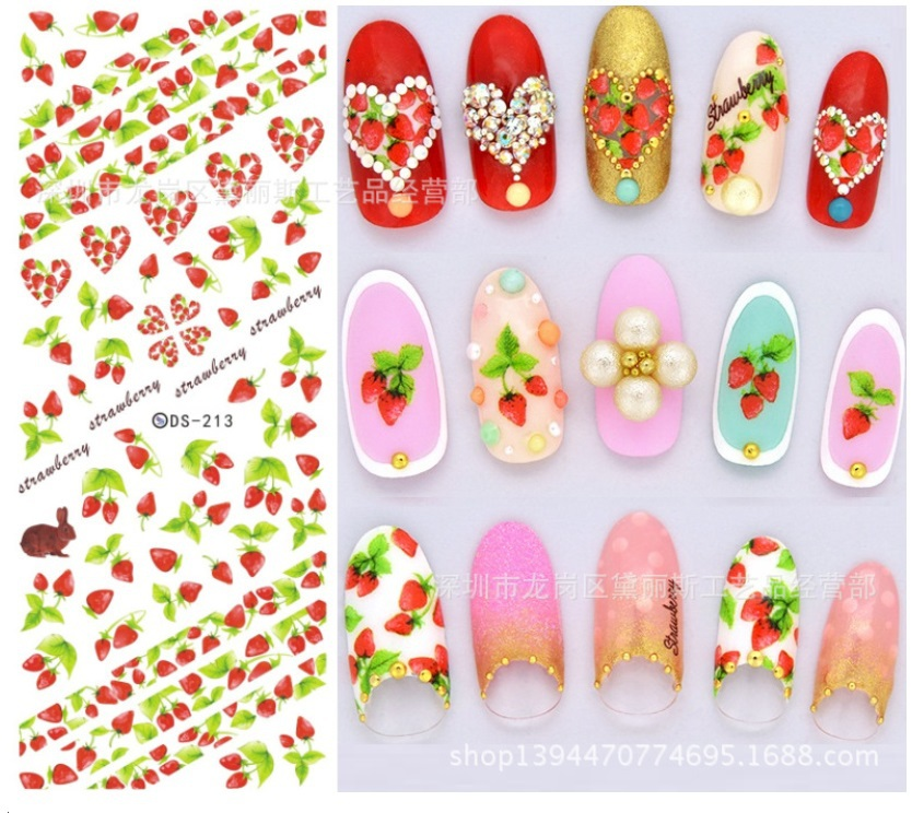 japanese summer nail art stickers water transfer cartoon fruit nail patch wraps floral nail decals minx nail tips(China (Mainland))