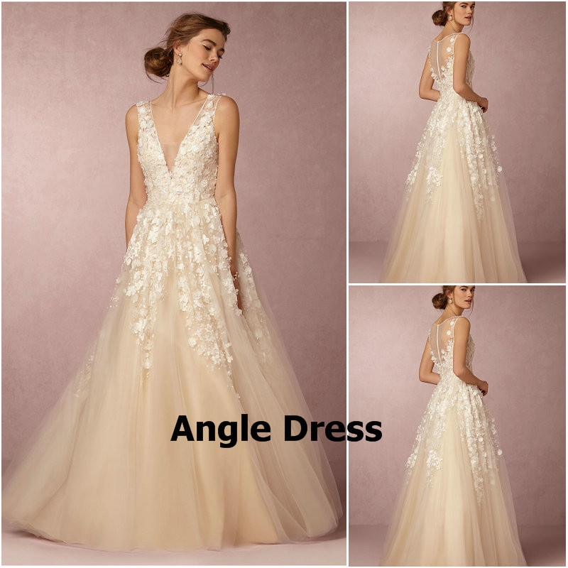 Online get cheap champagne colored mermaid wedding dresses for Champagne color wedding dresses