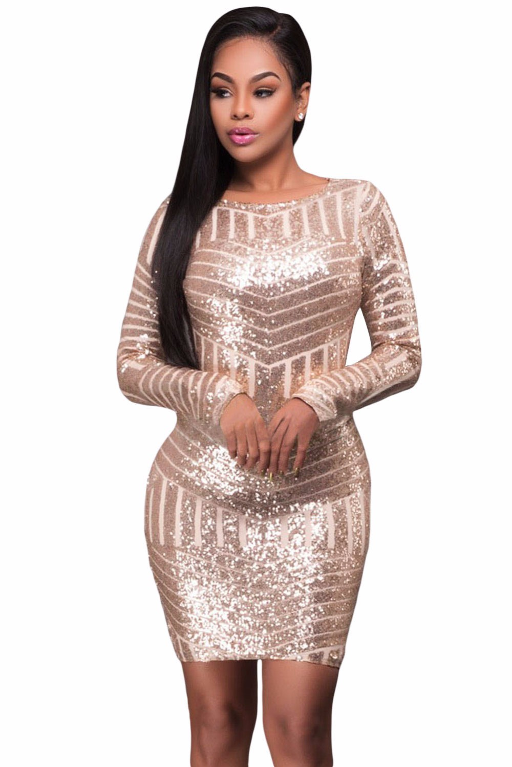 Champagne-Long-Sleeves-Cut-out-Bare-Back-Sequin-Dress-LC22924-10-2