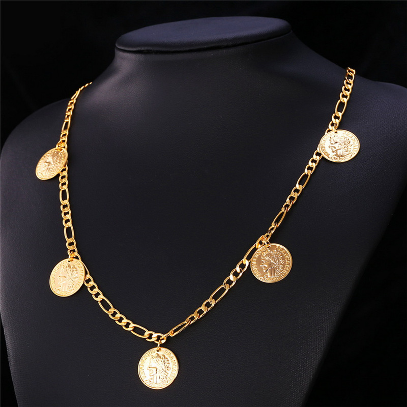 Gold Coin Necklaces Money Symbol 18K Real Gold Plated Queen Head For Chain Necklace Charms Trendy Pendants Women Cute Girl N208(China (Mainland))