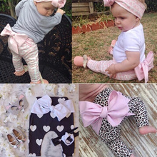 retail 2015 antumn high quality soft warm 1-4 years baby girls cotton legging Leopard big bowfly baby pant girls clothing A202(China (Mainland))