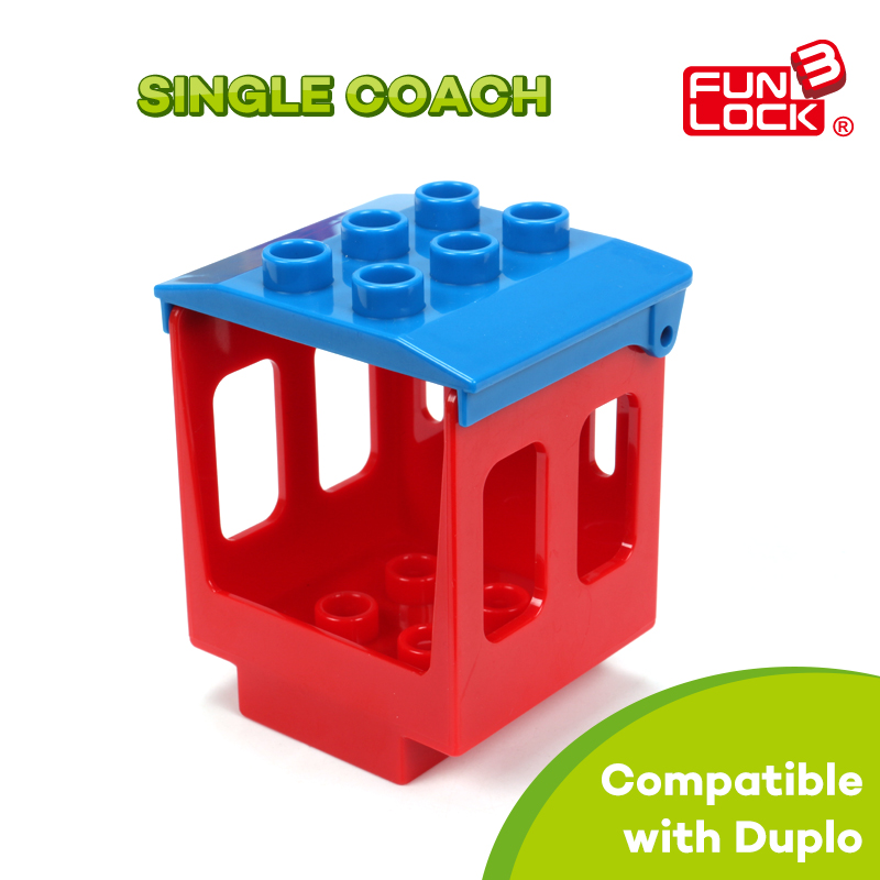 Single Coach Train Duplo Railway Block Assembling Parts Gift Present Toys For Kid Children(China (Mainland))