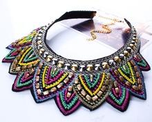 New Colorful Fashion Leaf Rhinestone Resin Short Women Collar Choker Necklace Statement Jewelry N2571