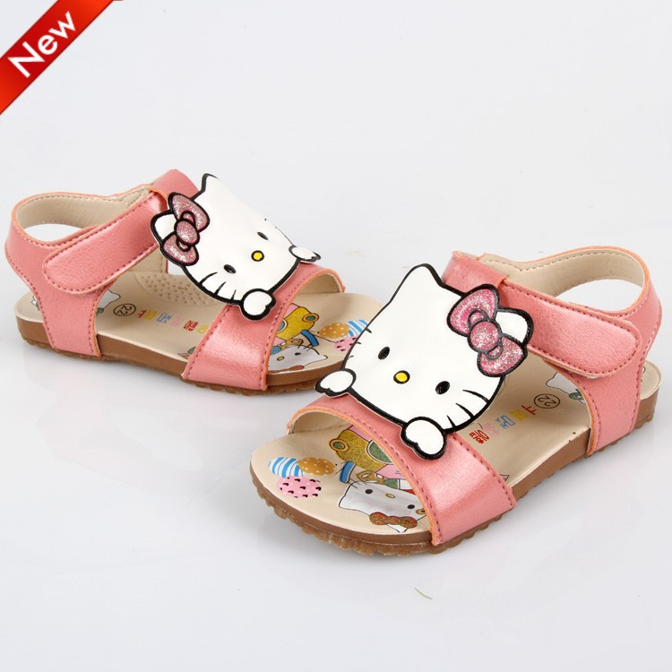 new 2015 Free shipping US 7~9 pink hello kitty summer girls sandals kids children boots shoes(China (Mainland))