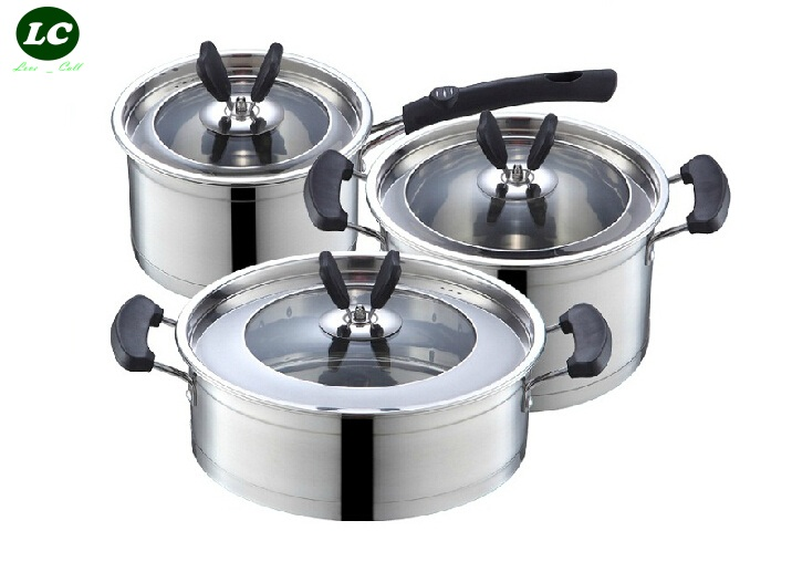 Cookware Set Stainless Steel Food Cooking Pot Casserole Skillet Saucepan 3PCS SET Outdoor Camping Anti-hot Applicable(China (Mainland))