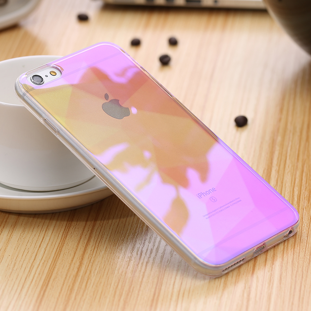 Luxury Aurora Blue Light Soft Silicone Cases For Iphone 6S Plus Grediant Color Transparent Case Back Cover For Iphone6S 6Plus(China (Mainland))