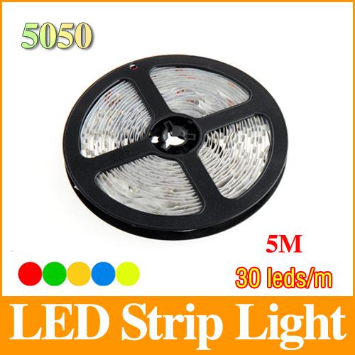 5m rgb 5050 led strip dc12V 30 led/m smd non- waterproof flexible light RGB/white/warm white/red/blue/green/yellow LS39(China (Mainland))