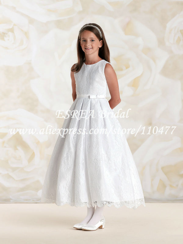 Bow belt modern girls white lace communion dress cap sleeve tea length