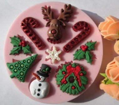 New Christmas trees snowman fondant molds,silicone mold soap,candle moulds,sugar craft tools,chocolate mould,bakeware(China (Mainland))
